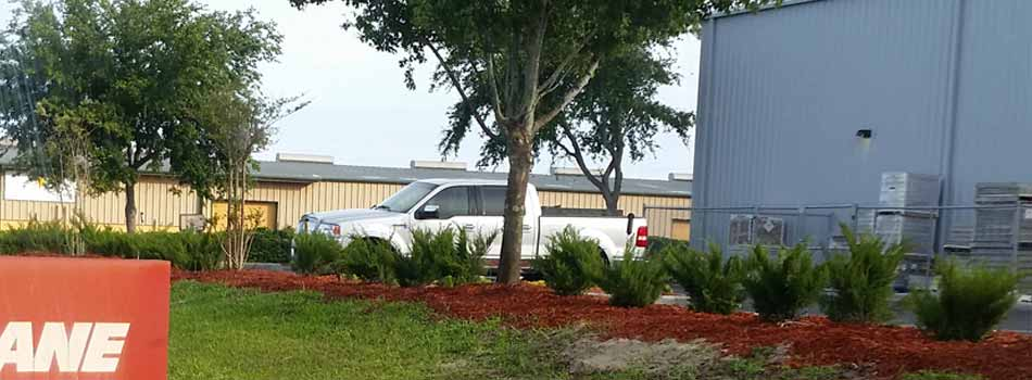 The rear of a well-maintained commercial grounds located in Brooksville, FL.