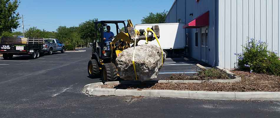 Large boulder being added during the start of a landscaping project for commercial grounds located in Brooksville.