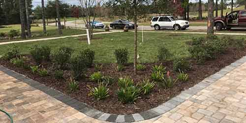 This landscape bed in Hernando Beach, FL  has just received new mulch.